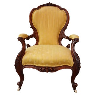 19th Century Victorian Hand-Carved Parlor Chair