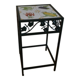 Green Wrought Iron Ceramic Side Table