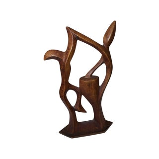 "Mid-Century Wood Sculpture, ""High Five for Peace"""