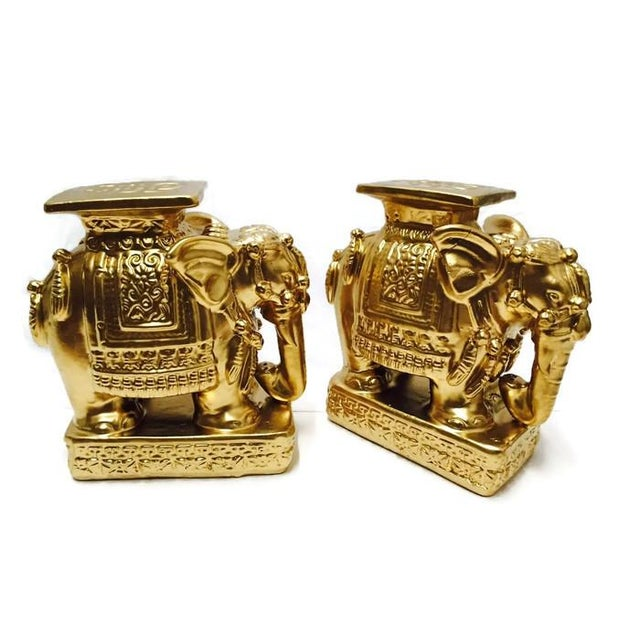 Vintage Gold Chinoiserie Asian Elephants - A Pair - Image 5 of 6