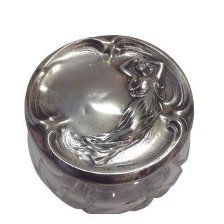 Art Nouveau Sterling Crystal Powder Vanity Jar