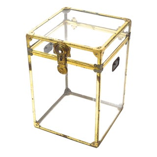 Small Vintage Lucite and Brass Trunk