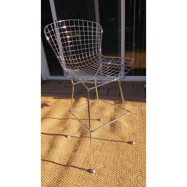 Harry bertoia style wire counter stool chairish - Bertoia wire counter stool ...