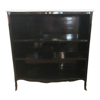 Ebony Marble-Top Bookcase or Console Table Attributed to Maison Jansen