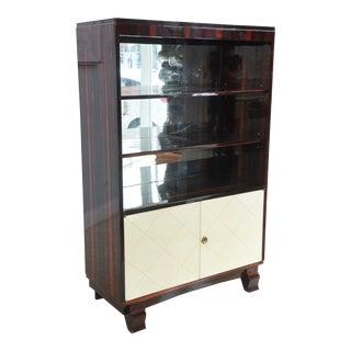 Art Deco Ebony De Macassar and Parchment Bookcase, Jean Pascaud