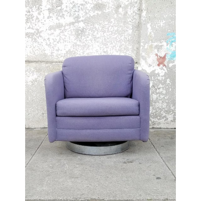 Vintage Lilac Swivel Club Chairs - A Pair - Image 3 of 5