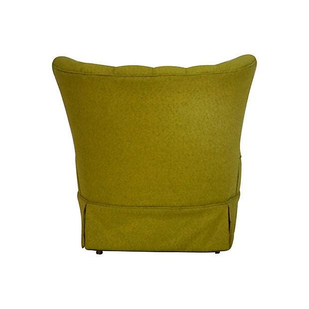 Mid-Century Green Channel Tufted Slipper Chair - Image 4 of 5