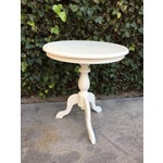 Image of White Round Wooden Side Table