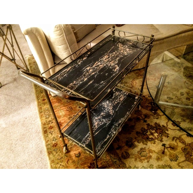 Mid-Century Modern Brass & Marble Rolling Bar Cart - Image 7 of 11