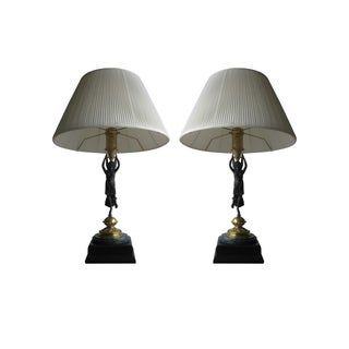 Lady Victory Brass Table Lamp With Dark Verde Marble Base - Pair