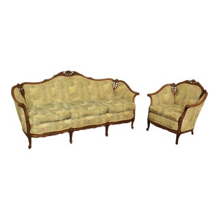 Antique French Provincial Sofa & Chair - A Pair