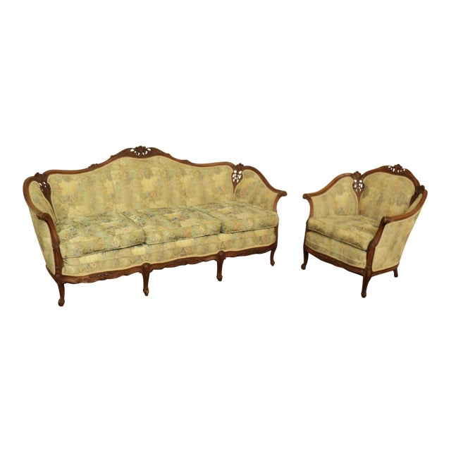 Antique French Provincial Sofa & Chair - A Pair - Image 1 of 11