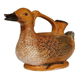 Mid-20th Century French Hand-Painted Barbotine Duck Water Pitcher