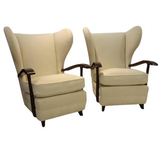 Pair of Midcentury Wingback Club Chairs Attributed to Paolo Buffa, Italy circa 1950
