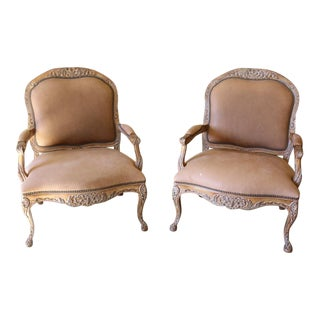 Kreiss Monarch Lounge Leather Chairs - a Pair