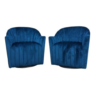 Deep Blue Velvet Hollywood Regency Swivel Club Chairs - A Pair