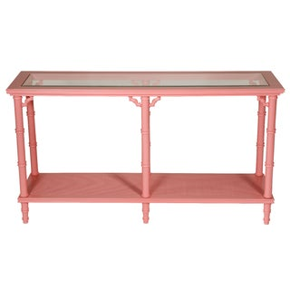 Faux Bamboo Pink Lacquer Console Table