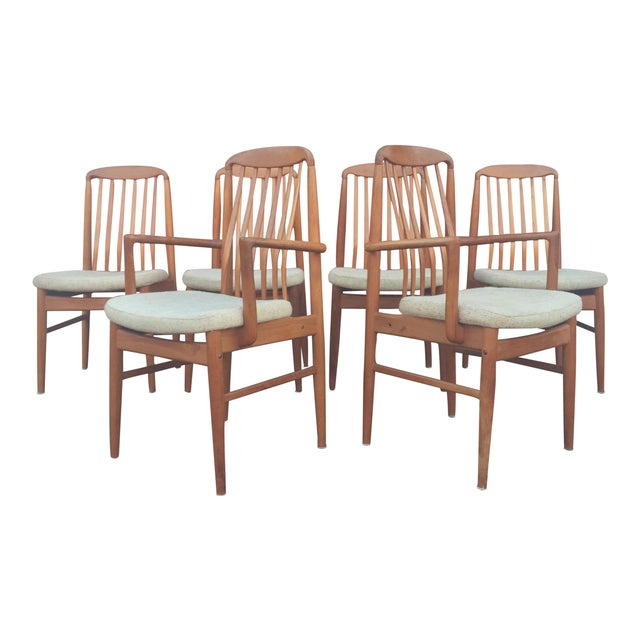 Danish Modern Style Teak Dining Chairs - Set of 6 - Image 1 of 11