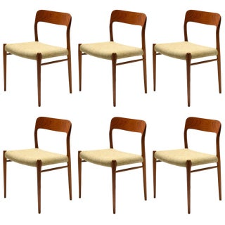 Niels O. Møller Set of Six Model 75 Chairs