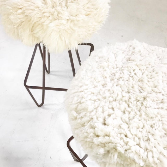 Vintage Weinding Stools Reupholstered in Brazilian Sheepskin - a Pair - Image 4 of 5
