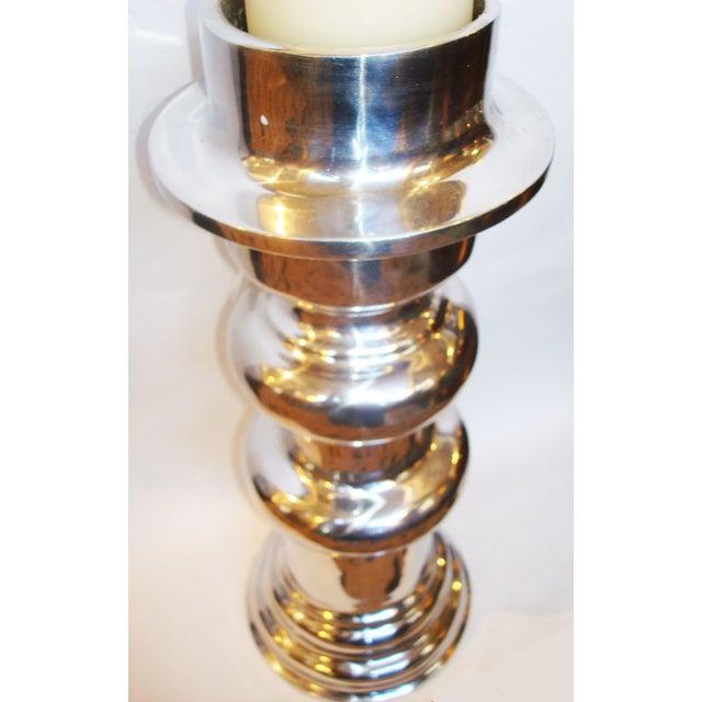 X-Large Polished Aluminum Candle Holder - Image 3 of 3