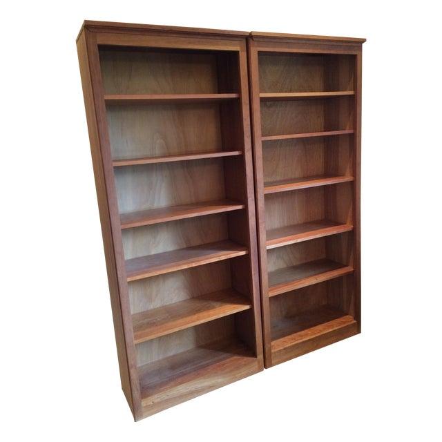 Crate Barrel Cherry Bookcase Pair Chairish