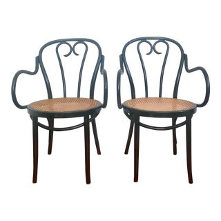 Bentwood Black & Cane Chairs - A Pair