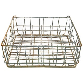 Vintage Galvanized Wire Bottle Crate