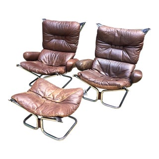 Ingmar Relling Leather Lounge Chairs & Ottoman - Set of 3
