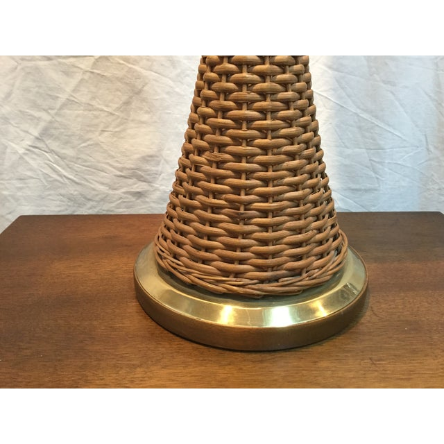 Modeline Brass and Rattan Modern Table Lamp - Image 4 of 9