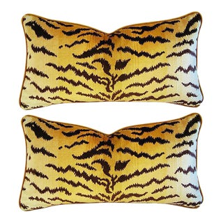 "Designer Italian Scalamandré Le Tigre (Tiger) & Mohair Pillows 24"" X 13"" - Pair"