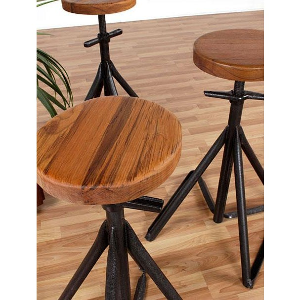 Custom Nautical Teak Bar Stools - Set of 3 - Image 3 of 4