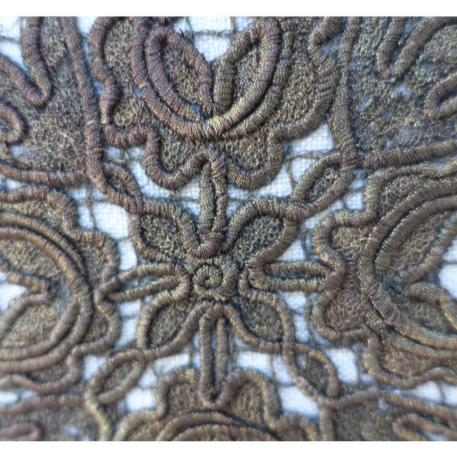 Flower Metallic Applique Linen Pillow - Image 4 of 7