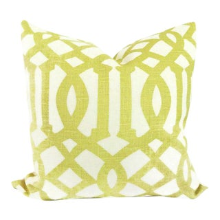 "20"" x 20"" Citron Imperial Trellis Decorative Pillow Cover"