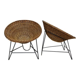 Mid-Century Wicker Rattan Cone Lounge Chairs - A Pair