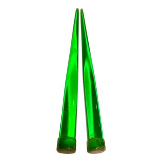 Vintage Emerald Green Lucite Candle Sticks - A Pair