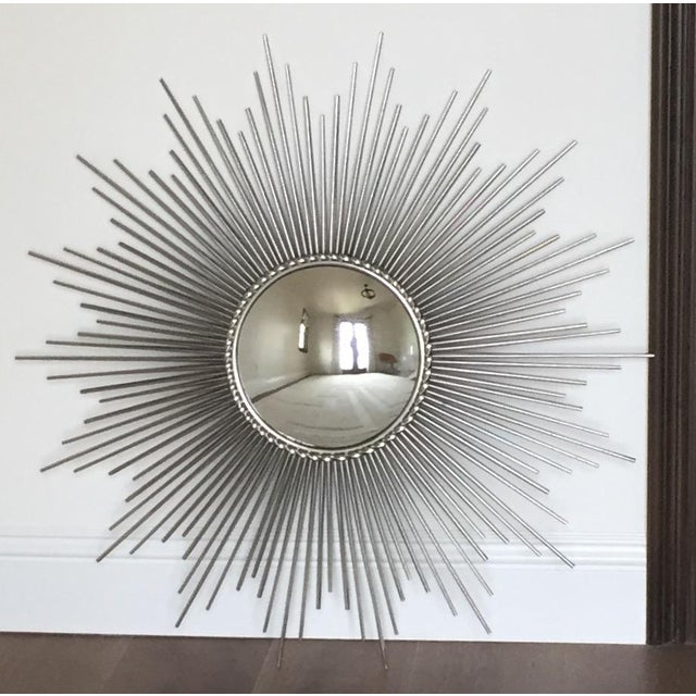Global Views Sunburst Mirror Nickel: Global Views Hollywood Regency Silver Convex Sunburst