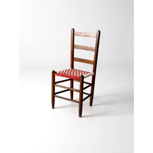 Ladder Back Chair with Woven Fabric Seat - Image 2 of 9