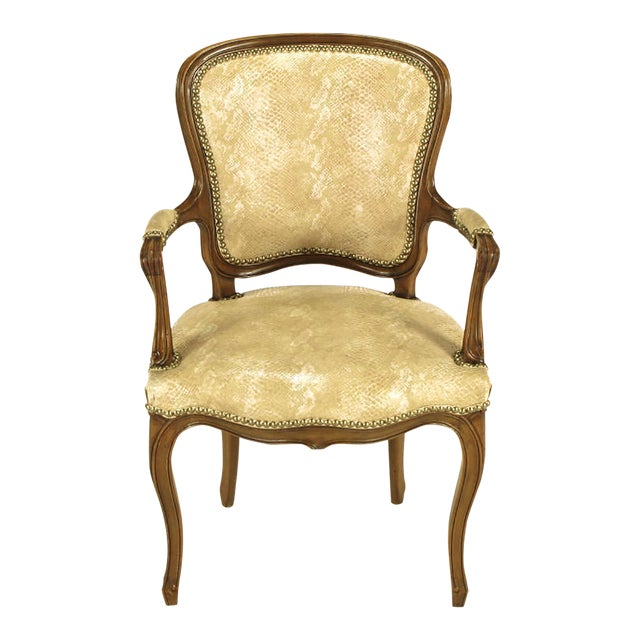 Pair of Walnut Louis XV Style Armchairs in Faux Python - Image 1 of 8