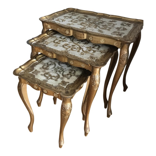 Gold Nesting Tables ~ Vintage italian gilded gold painted nesting tables set