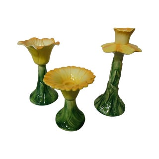 Italian Ceramic Floral Candlestick Set