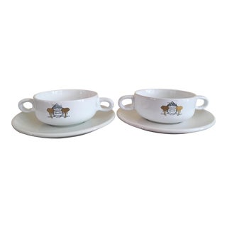 Mount Kenya Safari Club Soup Bowls With Saucers - A Pair