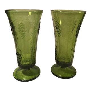 Mid-Century Modern Tall Green Grape Vases- A Pair
