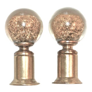 Gold Dust in Lucite Lamp Finials - A Pair