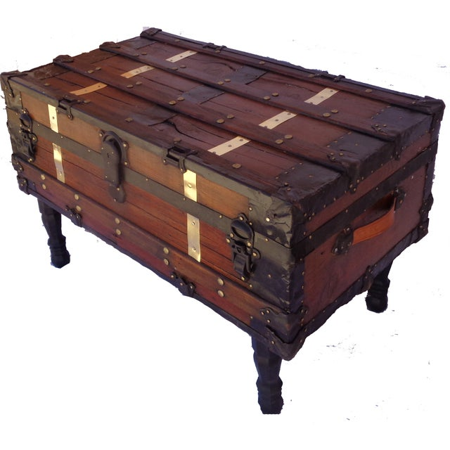Antique Steamer Trunk/Coffee Table - Image 4 of 4