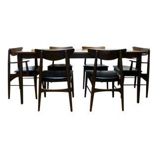 Mid-Century Modern Paul McCobb Stanley Danish Walnut Table & 6 Curved Back Chairs