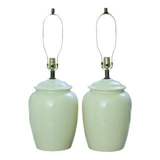 Mid Century Cream Ceramic Lamps - A Pair