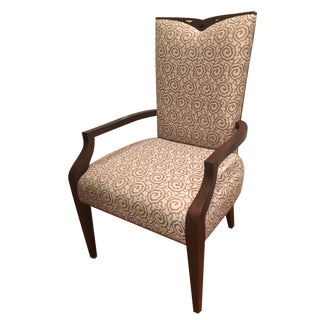 Brown & White Embroidered Transitional Chair