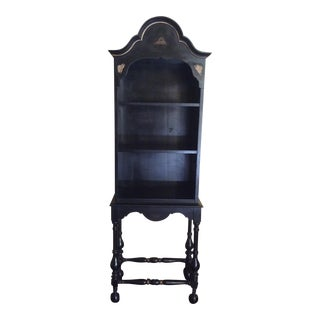 Black & Gold Asian Chinoiserie Curio Cabinet