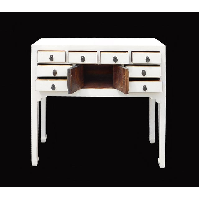 Off-White Distressed Console Table - Image 5 of 7